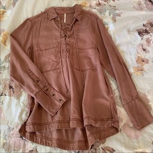 Free People Tencel Lace Up Top